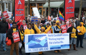 NC AFL-CIO marching in a rally