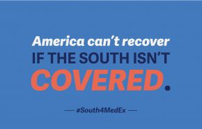 """Text graphic that reads """"America can't recover if the South isn't covered"""""""